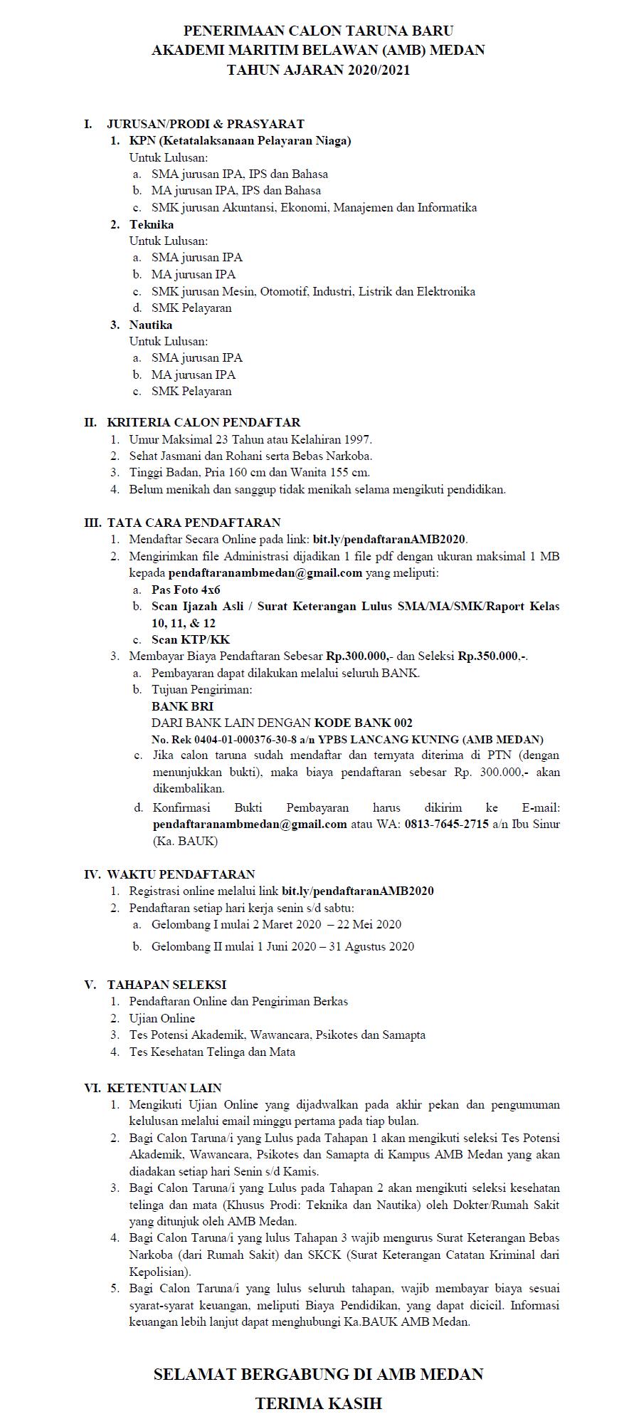 Daftar Online Catar AMB Medan